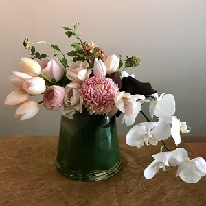 Tulips and orchids vase
