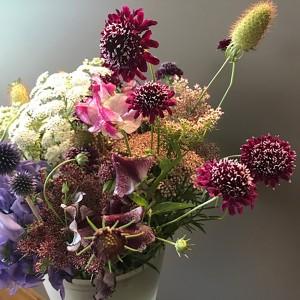 Sweet peas and anemones vase